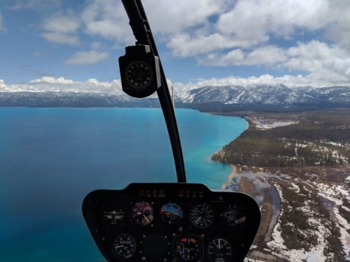 View of Lake Tahoe from a helicopter